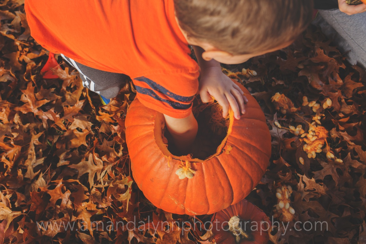 Little kids Carving Pumpkins Harrah Oklahoma