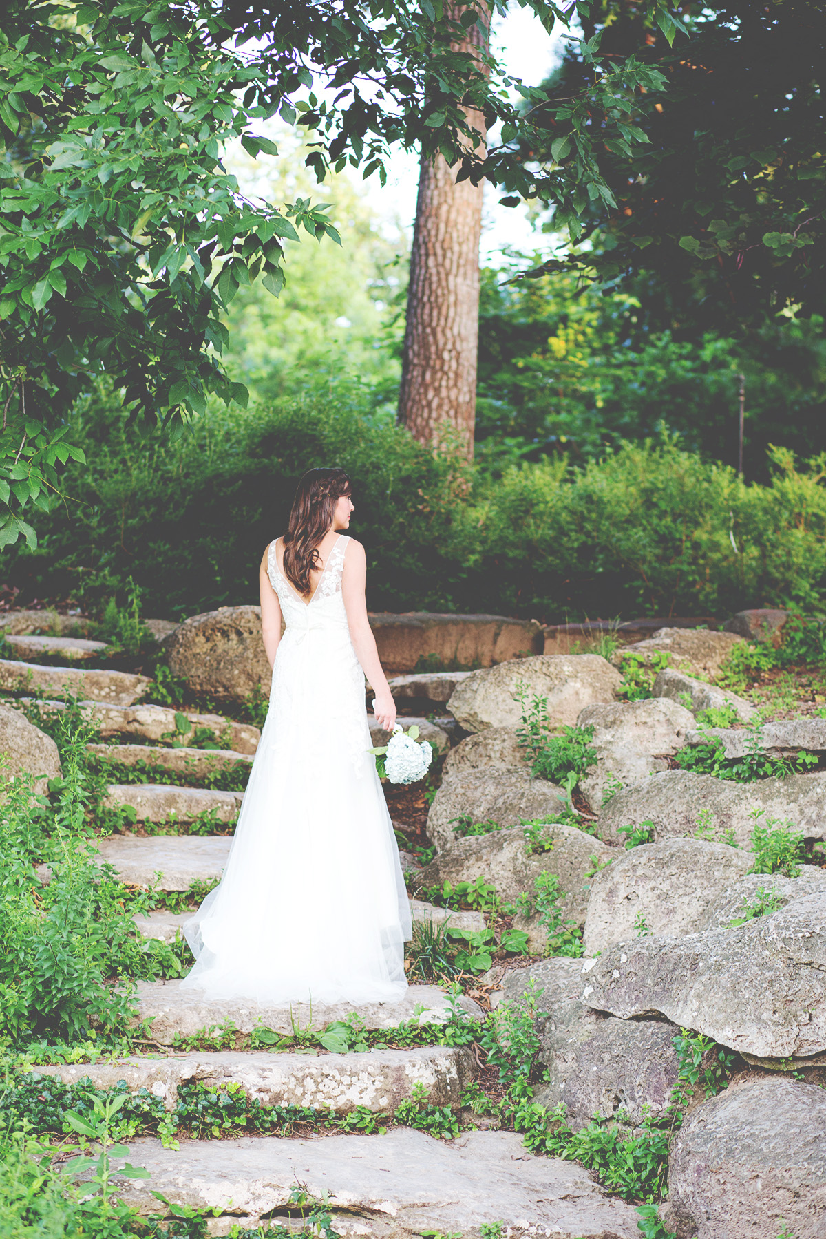 bridal photo on outdoor stair case in tulsa oklahoma