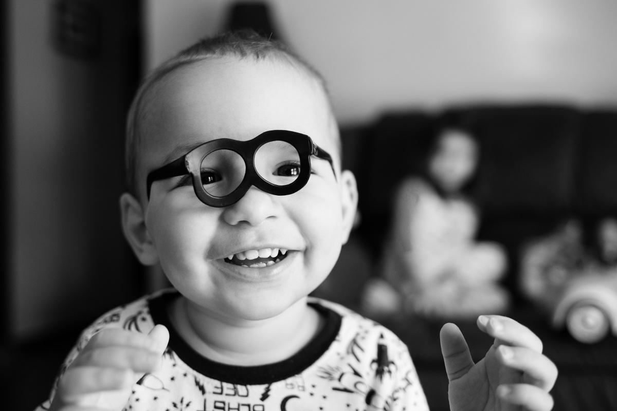 little boy wearing mr potato head glasses in harrah oklahoma