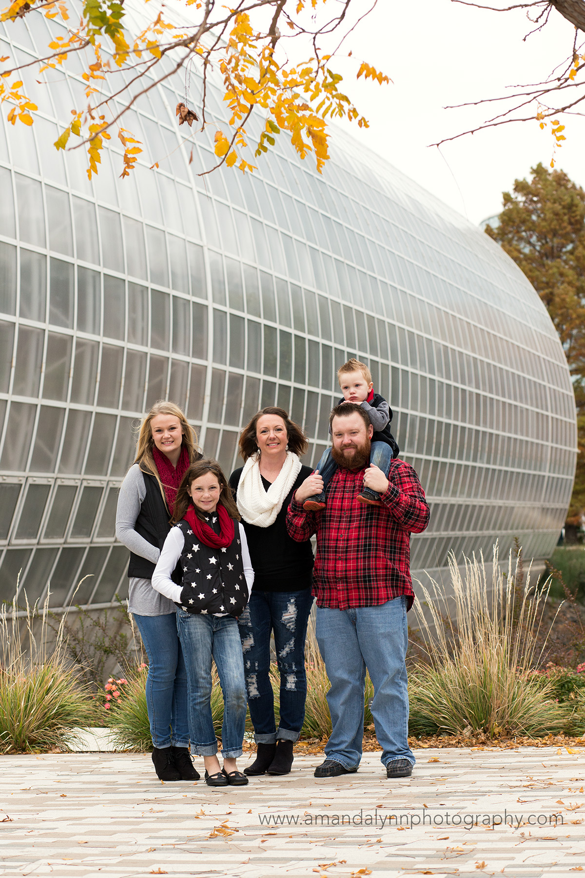 family of five at myriad gardens in oklahoma city