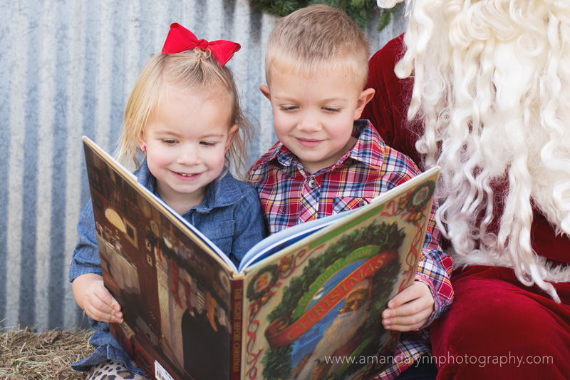 siblings reading the night before christmas with santa in harrah oklahoma