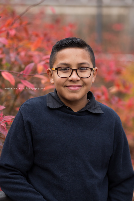 young boy with glasses at myriad gardens OKC