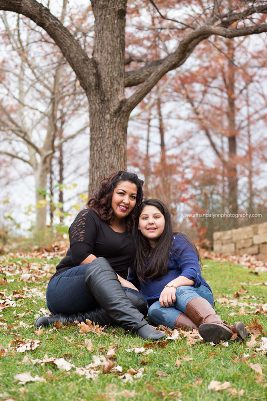mom and daughter posing at myriad gardens OKC