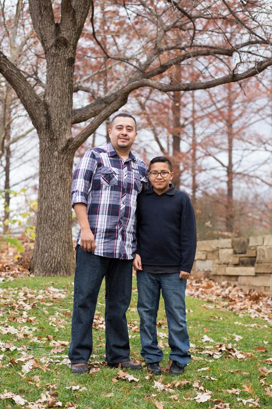 dad and son posing at myriad gardens OKC