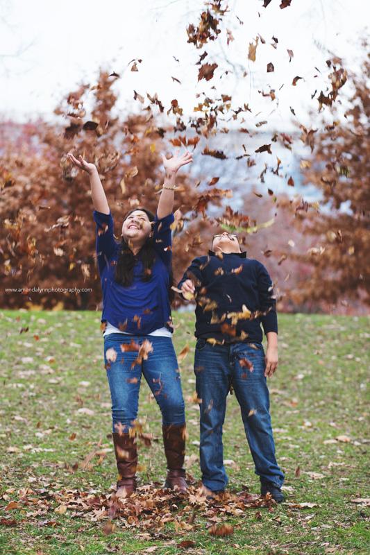 siblings throwing leaves at myriad gardens OKC