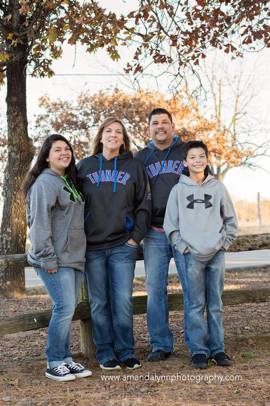 family of four wearing OKC thunder gear in choctaw oklahoma