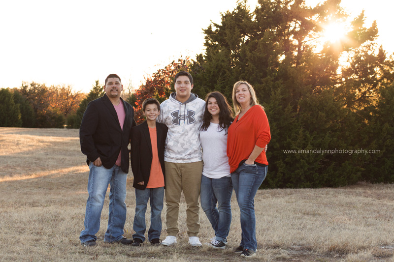 family of five posing at park in choctaw oklahoma