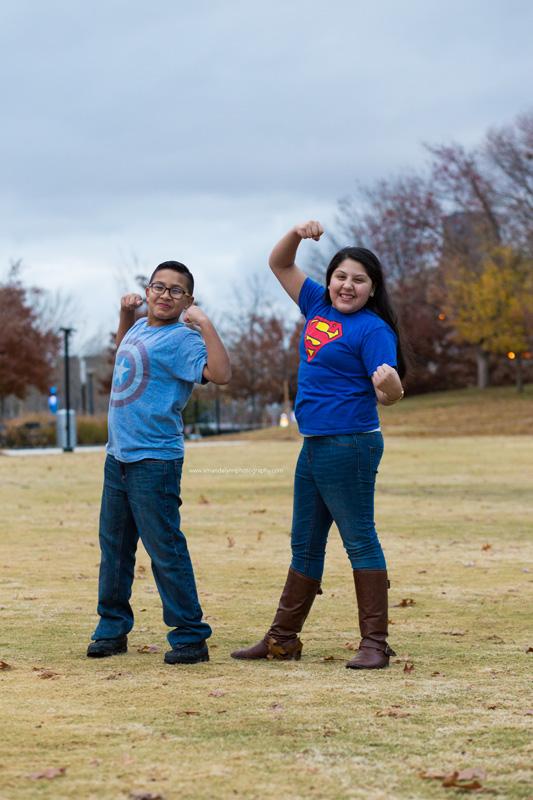 kids dressed in super hero tshirts at the myriad gardens in OKC