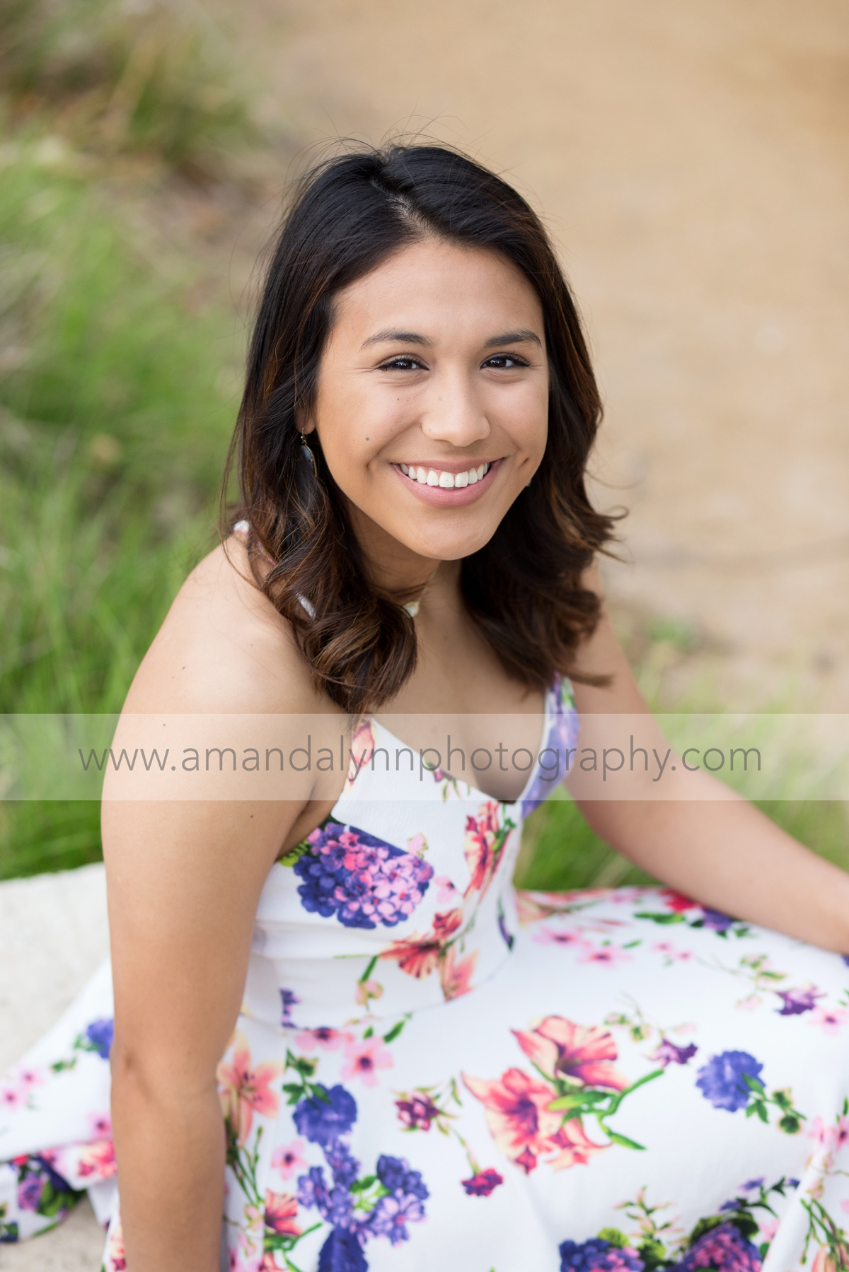High School Senior Girl sitting at myriad gardens in oklahoma city
