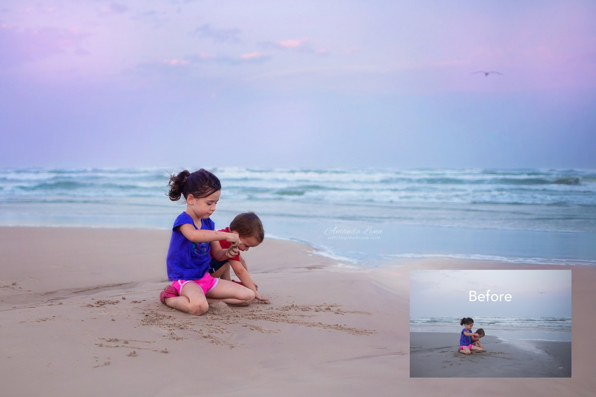 before and after edits of children playing in the sand at the beach oklahoma city photographer