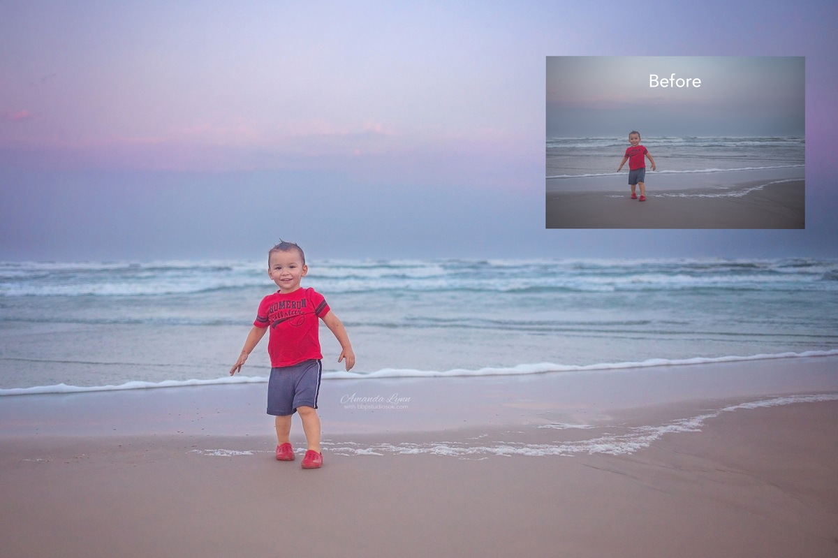 before and after edits of little boy walking in the sand at the beach oklahoma city photographer